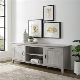 Walker Edison 70 in. Modern Farmhouse Simple Grooved Door Wood TV Stand (Stone Grey) W70CS2DST