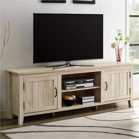 Walker Edison 70 in. Modern Farmhouse Simple Grooved Door Wood TV Stand (White Oak) W70CS2DWO
