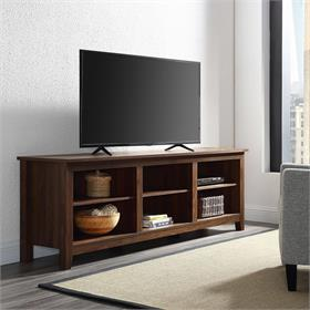 Walker Edison Essential 70 in. Rustic Wood TV Stand (Dark Walnut) W70CSPDW