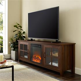 Walker Edison 70 in. Farmhouse Fireplace Wood TV Stand (Dark Walnut) W70FPSCDW