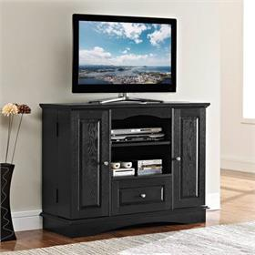 Walker Edison 42 in. Highboy Traditional Wood TV Stand (Black) WQ42BC3BL