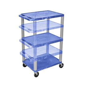 View a larger image of the Luxor WT1642BU-N Blue 3 Shelf Multi Height Cart.