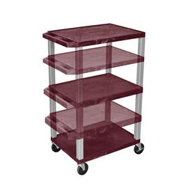 View a larger image of the Luxor WT1642BY-N Burgundy 3 Shelf Multi Height Cart.