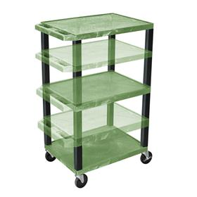 View a larger image of the Luxor WT1642GE-B Green 3 Shelf Multi Height Cart with Electric.