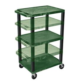 View a larger image of the Luxor WT1642HGE-B Hunter Green 3 Shelf Multi Height Cart with Electric.
