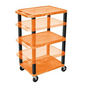 View a larger image of the Luxor WT1642ORE-B Orange 3 Shelf Multi Height Cart with Electric.