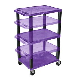 View a larger image of the Luxor WT1642PE-B Purple 3 Shelf Multi Height Cart with Electric.