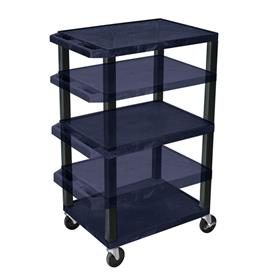 View a larger image of the Luxor WT1642ZE-B Navy Blue 3 Shelf Multi Height Cart with Electric.