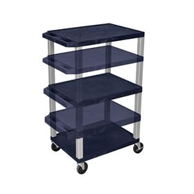View a larger image of the Luxor WT1642ZE-N Navy Blue 3 Shelf Multi Height Cart with Electric.