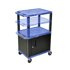 View a larger image of the Luxor WT2642BUC2-B Blue 3 Shelf Multi Height Cart with Cabinet.
