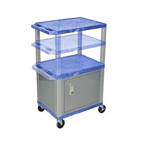 View a larger image of the Luxor WT2642BUC4-N Blue 3 Shelf Multi Height Cart with Cabinet.