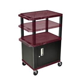 View a larger image of the Luxor WT2642BYC2-B Burgundy 3 Shelf Multi Height Cart with Cabinet.
