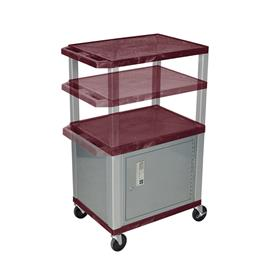 View a larger image of the Luxor WT2642BYC4-N Burgundy 3 Shelf Multi Height Cart with Cabinet.