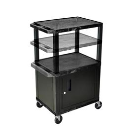 View a larger image of the Luxor WT2642C2-B Black 3 Shelf Multi Height Cart with Cabinet.