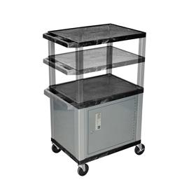 View a larger image of the Luxor WT2642C4-N Black 3 Shelf Multi Height Cart with Cabinet.