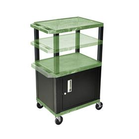View a larger image of the Luxor WT2642GC2-B Green 3 Shelf Multi Height Cart with Cabinet.