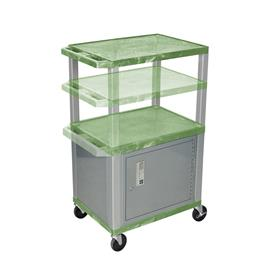 View a larger image of the Luxor WT2642GC4-N Green 3 Shelf Multi Height Cart with Cabinet.