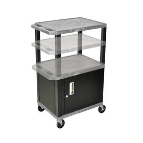View a larger image of the Luxor WT2642GYC2-B Gray 3 Shelf Multi Height Cart with Cabinet.