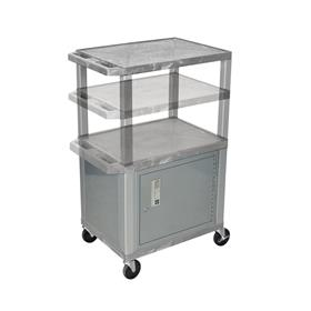 View a larger image of the Luxor WT2642GYC4-N Gray 3 Shelf Multi Height Cart with Cabinet.