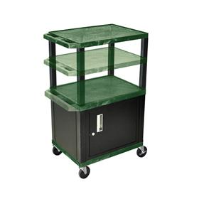View a larger image of the Luxor WT2642HGC2-B Hunter Green 3 Shelf Multi Height Cart with Cabinet.