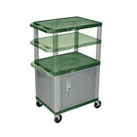 View a larger image of the Luxor WT2642HGC4-N Hunter Green 3 Shelf Multi Height Cart with Cabinet.