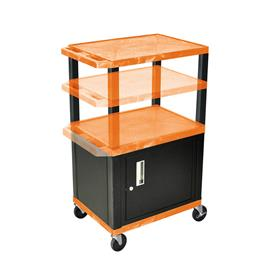 View a larger image of the Luxor WT2642ORC2-B Orange 3 Shelf Multi Height Cart with Cabinet.