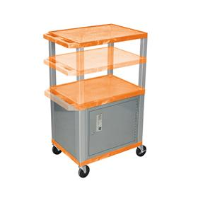 View a larger image of the Luxor WT2642ORC4-N Orange 3 Shelf Multi Height Cart with Cabinet.