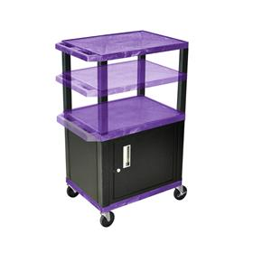 View a larger image of the Luxor WT2642PC2-B Purple 3 Shelf Multi Height Cart with Cabinet.