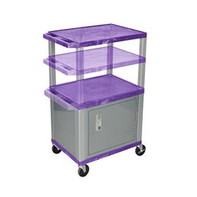 View a larger image of the Luxor WT2642PC4-N Purple 3 Shelf Multi Height Cart with Cabinet.