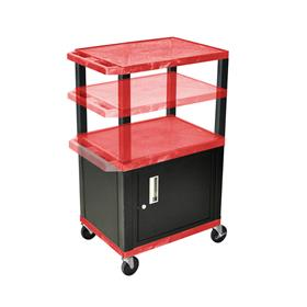 View a larger image of the Luxor WT2642RC2-B Red 3 Shelf Multi Height Cart with Cabinet.