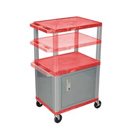 View a larger image of the Luxor WT2642RC4-N Red 3 Shelf Multi Height Cart with Cabinet.