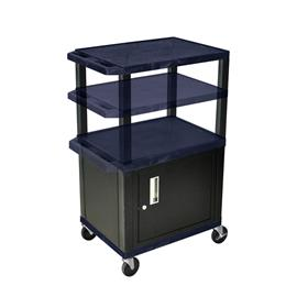 View a larger image of the Luxor WT2642ZC2E-B Navy Blue 3 Shelf Multi Height Cart with Cabinet & Electric.