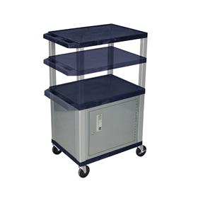View a larger image of the Luxor WT2642ZC4-N Navy Blue 3 Shelf Multi Height Cart with Cabinet.