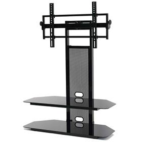 View a larger image of the TransDeco Black Glass TV Stand with Integrated Flat Panel Mount for 32-80 inch Screens (Black) TD560BCH here.
